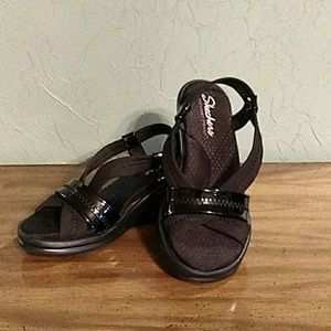 Skechers Black Memory Foam Wedge Sandal